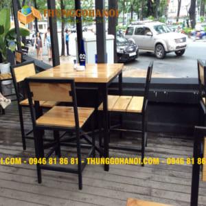 30 mẫu bàn ghế chân sắt mặt gỗ đẹp, giá rẻ