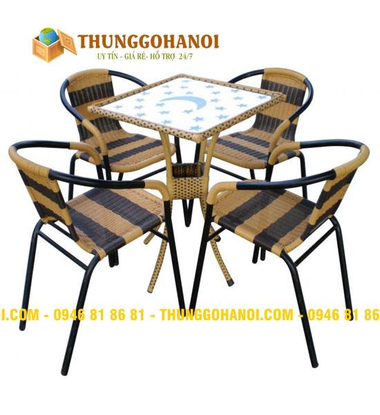 Bàn ghế cafe gấp khung sắt mặt gỗ Bắc Giang